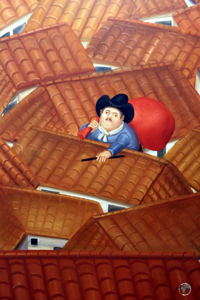 """""""The Thief on the Roof"""" (1980), by Fernando Botero, on display at the Museo Botero in Bogota, Colombia."""