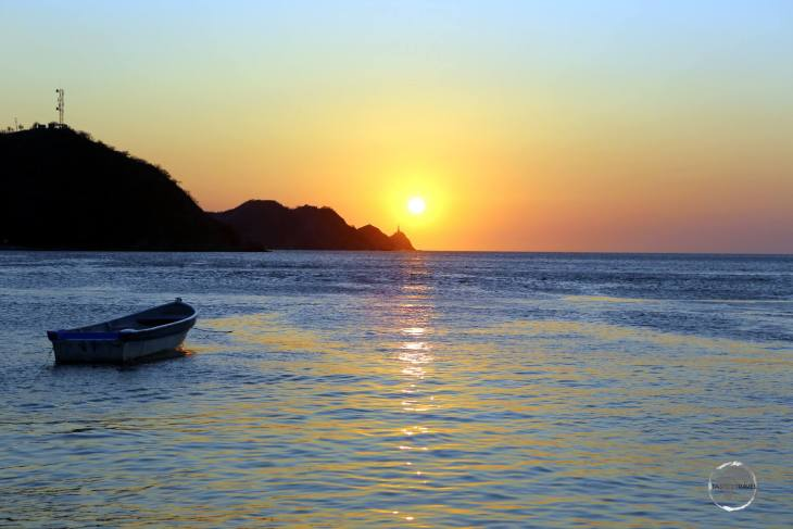 Sunset at Taganga, a small fishing village on the Caribbean sea, located a short drive north of Santa Marta in northern Colombia.