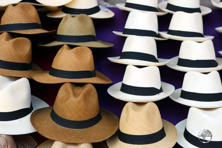 Hand-woven hats for sale in Cartagena old town.