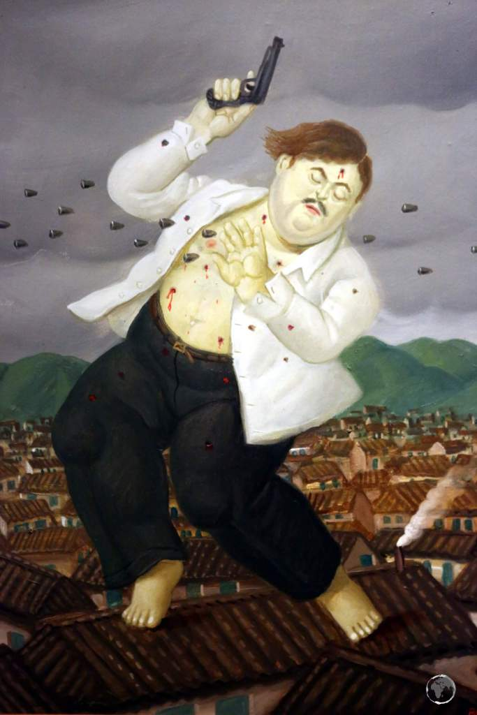 A painting by local artist, Fernando Botero at the Museum of Antioquia in Medellin, shows the capture of Pablo Escobar, who was killed by police while trying to escape from his safe house in Medellin in 1993.
