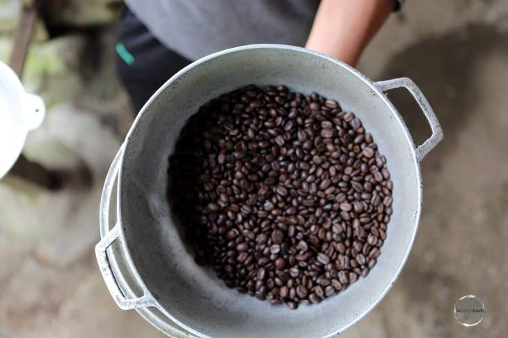 Once roasted, the coffee beans were ground so we could sample a freshly made coffee.