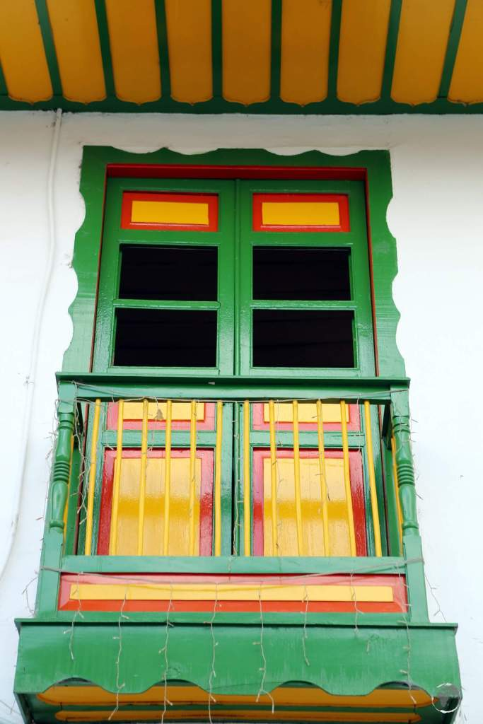 Detail of a building on Calle Real, the main street of Salento, which was founded in 1842 by the Spanish.