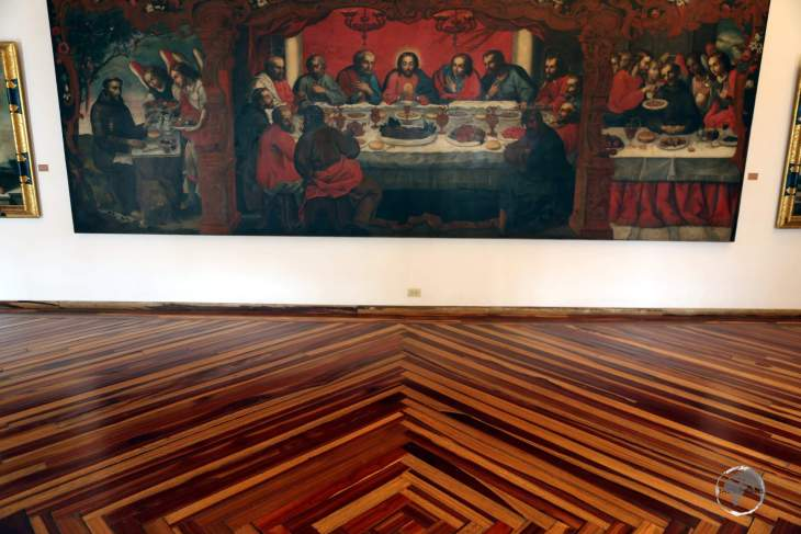 Beautiful, wooden, parquet floors and historic artworks, inside the 'Museo Arte Religioso' (Religious Art Museum) in Popayán, Colombia.