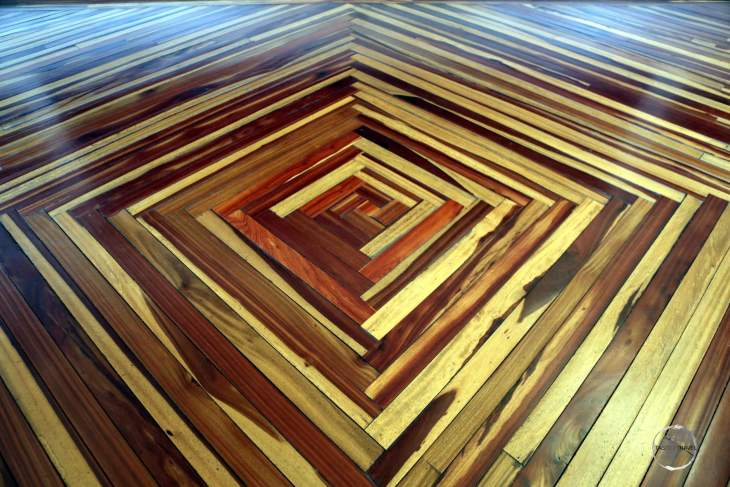 Parquet floor inside the 'Museo Arte Religioso' (Religious Art Museum) in Popayán, Colombia.