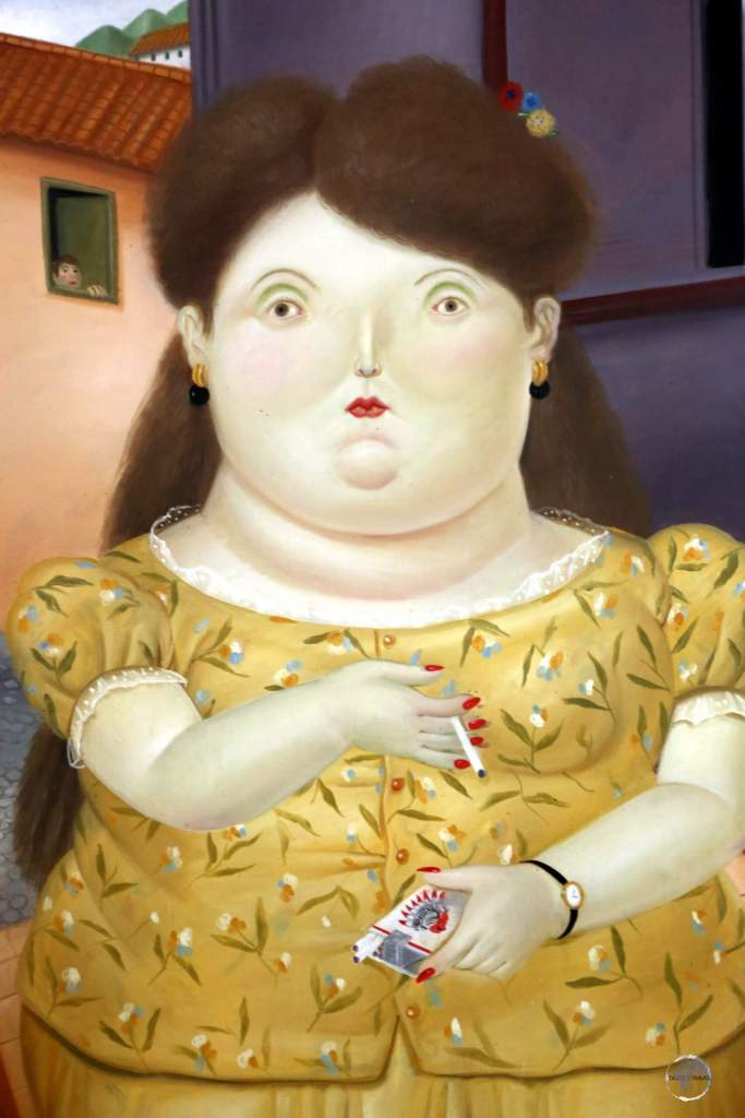 """""""Woman Smoking"""" by Botero, on display at the 'Museo Nacional de Colombia' (Colombian National Museum) in Bogota, Colombia."""