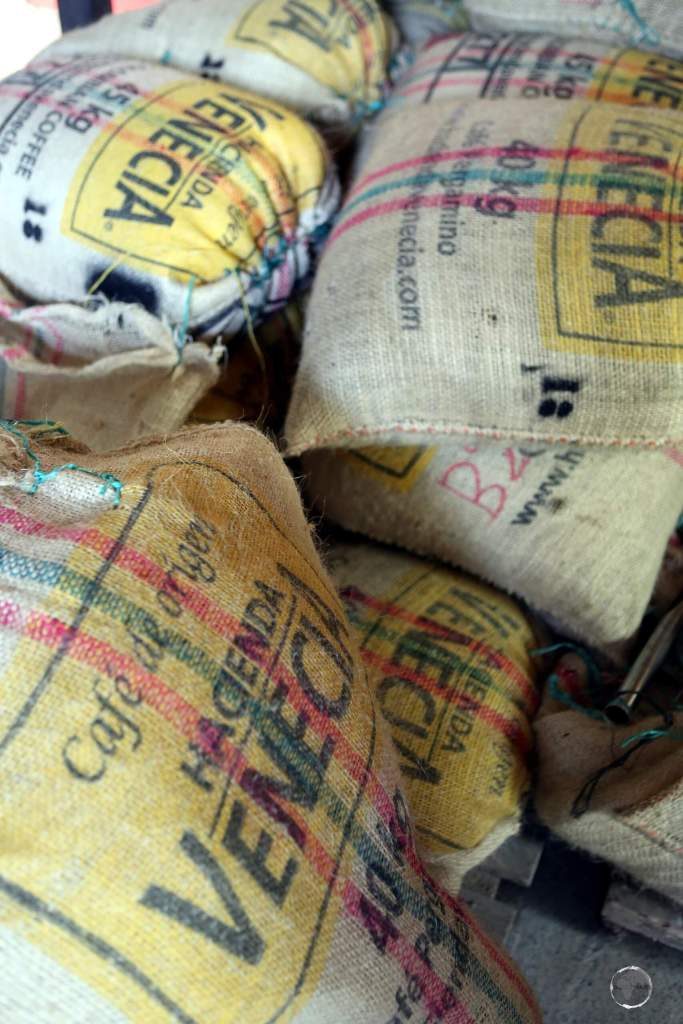 Sacks of coffee beans at Hacienda Venecia, which is located in a valley, 16 km south-west of Manizales, in the 'Zona Cafeteria' - the main coffee production area of Colombia.