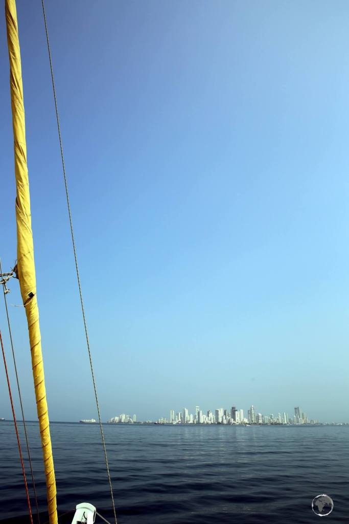 Approaching Cartagena at the end of a 5-day yacht journey from Panama.