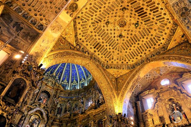 Approximately seven tons of gold are plastered all over the ceilings and the walls of 'La Iglesia de la Compañía de Jesús' in Quito.