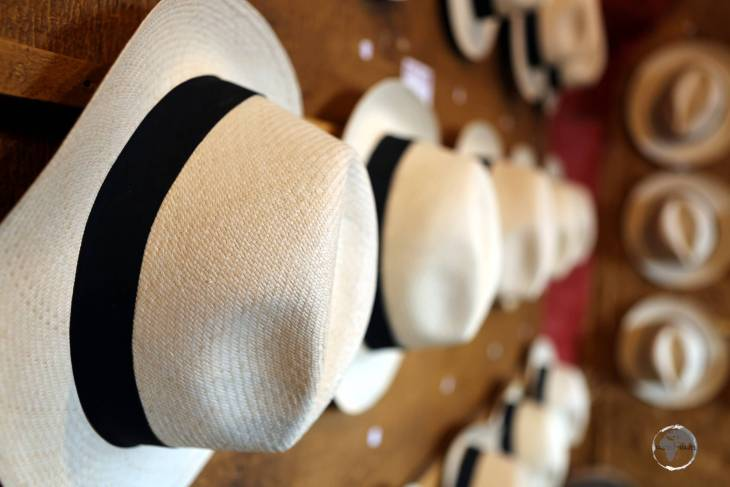 Panama hats, which are made in Ecuador, for sale at a shop in Quito.