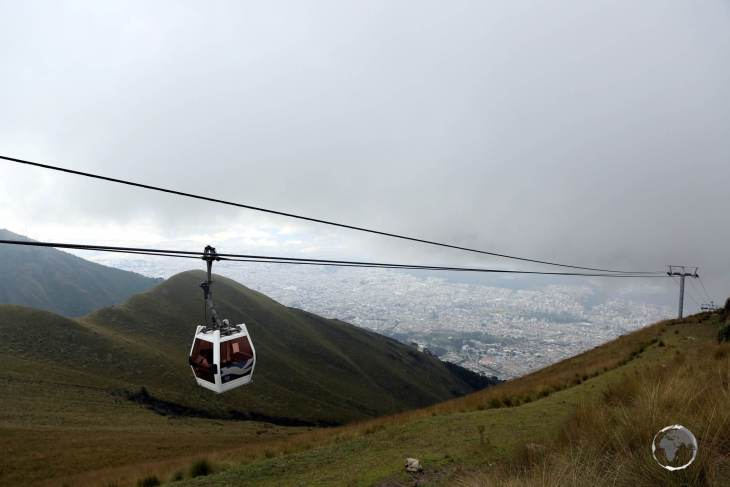 The TelefériQo (a combination of teleférico and Quito) runs up the foothills of Pichincha volcano, offering panoramic views of Quito from 3,945 metres (12,943 feet).
