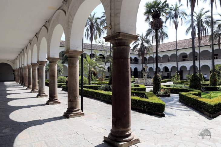 A view of the interior courtyard at the San Francisco Museum and Convent in Quito.