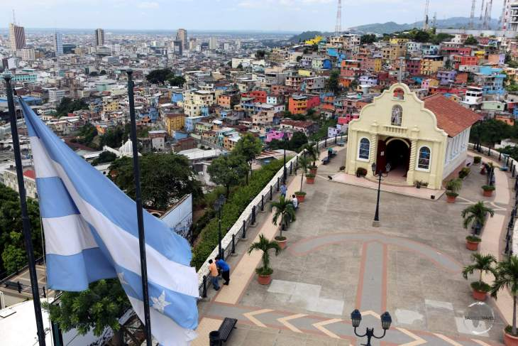 A view of the colourful Guayaquil neighbourhood of Santa Ana from the top of the 'Faro Cerro Santa Ana' (Santa Ana lighthouse).
