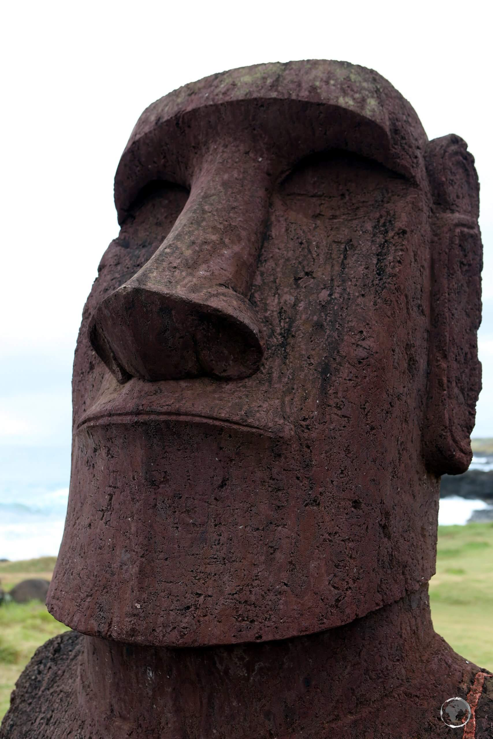 A large moai, with a well-chiselled jaw, overlooks Easter Island.