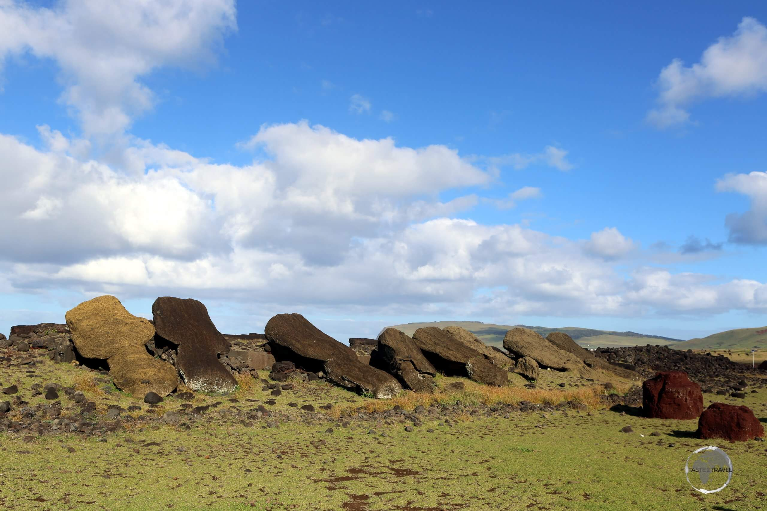 A view of the 13 fallen moai at Ahu Akahanga. Believed to be the burial place of the first king of the Rapa Nui people, the statues were vandalised during a civil war on the island which led to the end of the Rapa Nui civilisation.