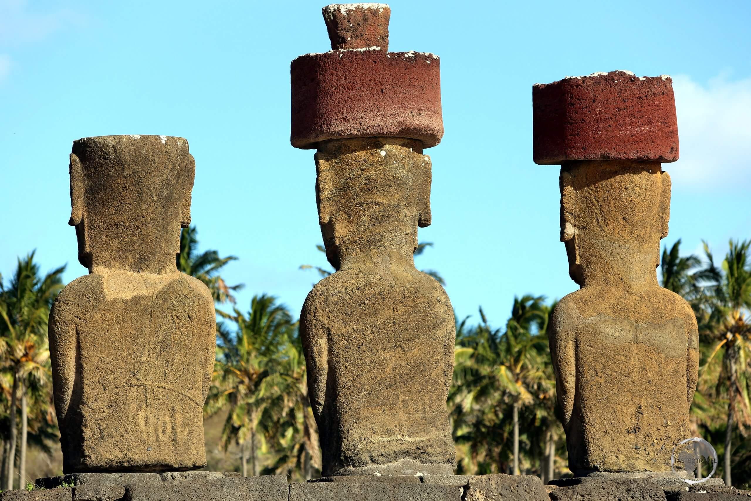 Moai at Ahu Nau Nau, which overlooks Anakena beach.