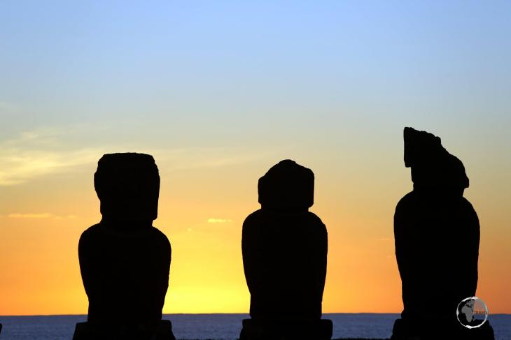 A sunset view of Ahu Tahai, which is located a short distance from Hanga Roa, the capital of Easter Island.