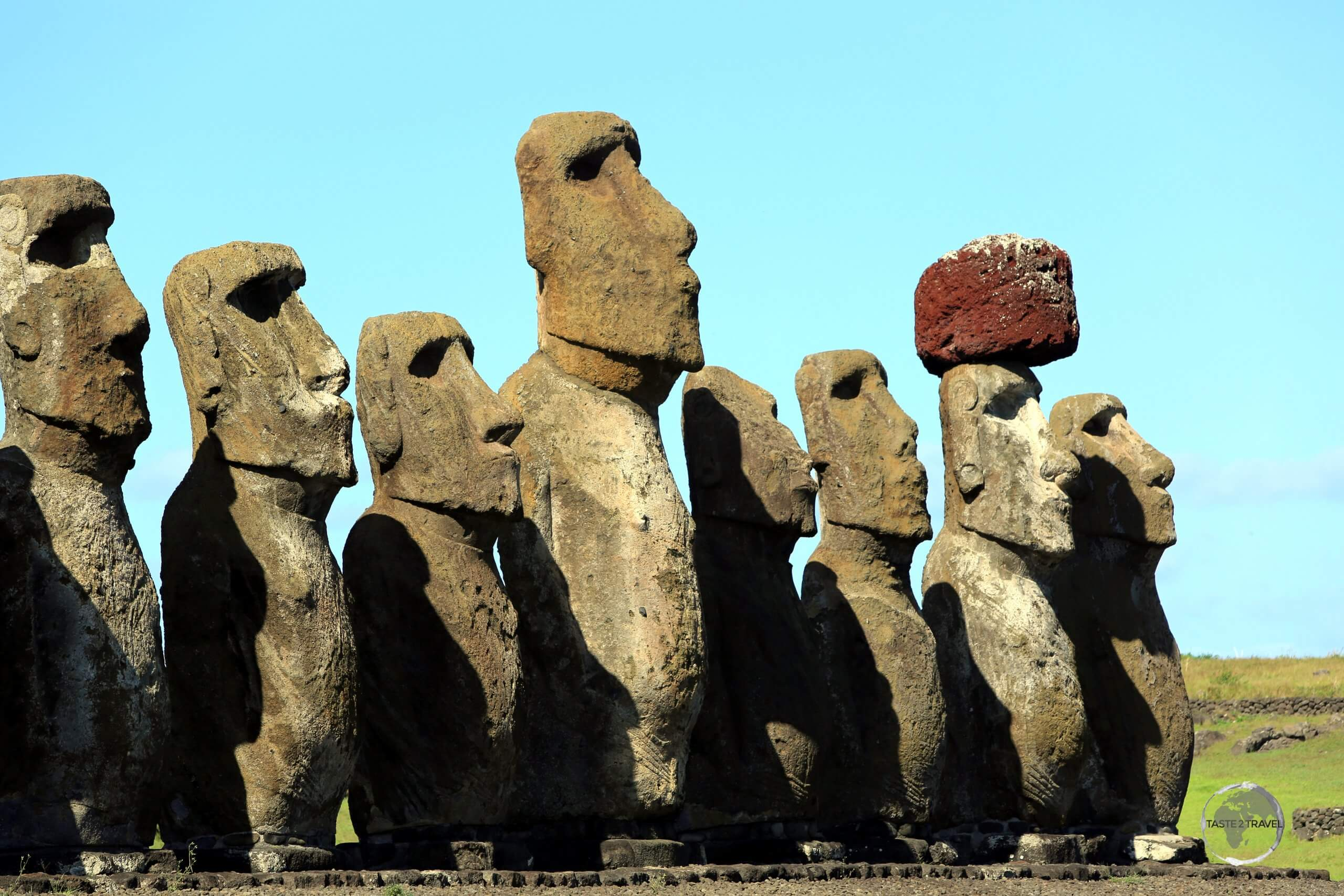 The moai of Ahu Tongariki were toppled during the island's civil war, and, in 1960, a tsunami swept them inland. They have since been returned to their original positions.