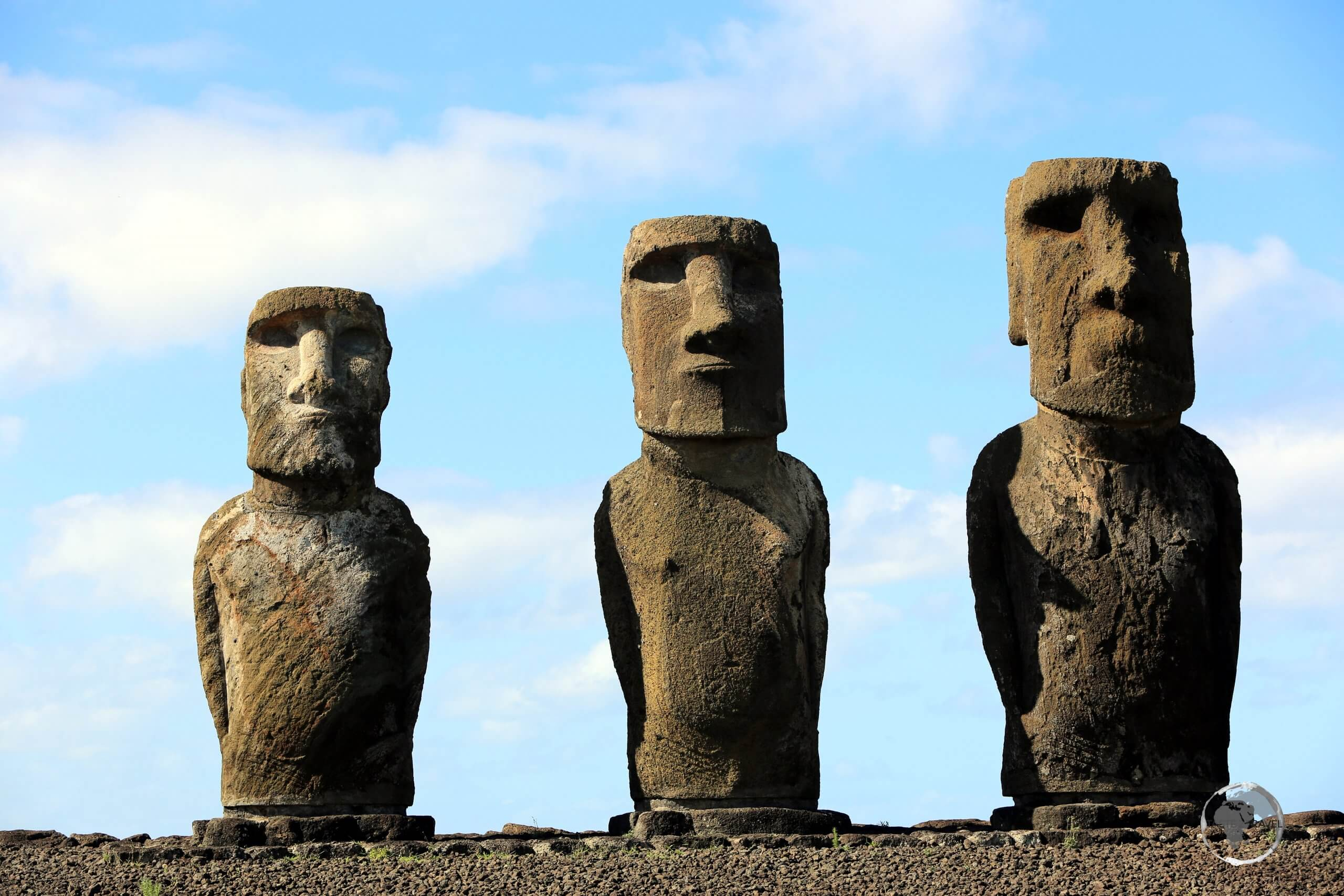 Moai at Ahu Tongariki, just three of the estimated 887 massive statues which are to be found at various locations around Easter Island. Due to their sheer size and weight, theft has never been a problem!