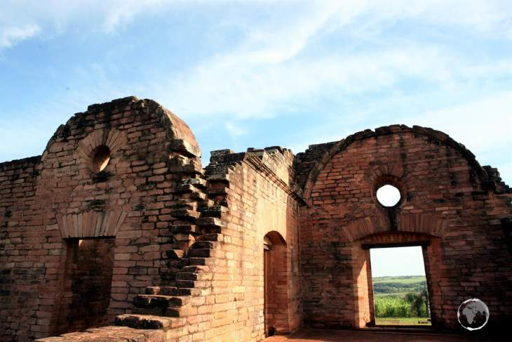 Part of the ruins of the 'Jesús de Tavarangue' Jesuit mission in southern Paraguay.