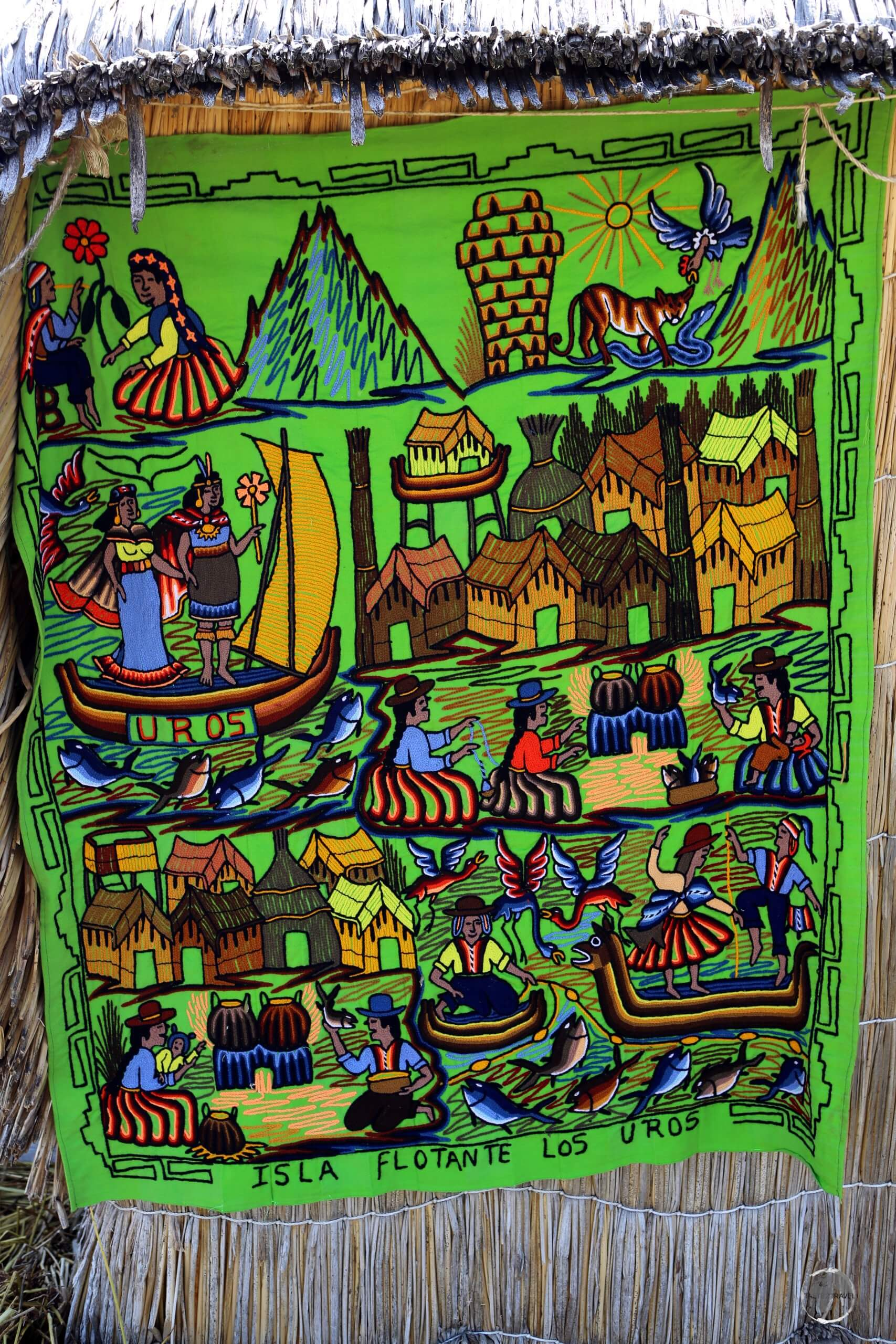 A souvenir wall hanging offers a colourful representation of life on the Uros Islands, a highlight of Lake Titicaca.