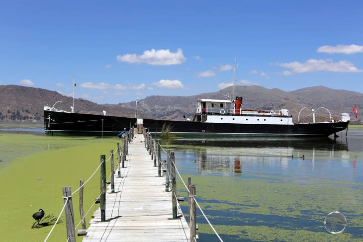 """Built in Birmingham in 1861, shipped to Chile in kit form then transported inland to Lake Titicaca by pack mules, then assembled, the """"Yavari"""" now remains docked in Puno."""