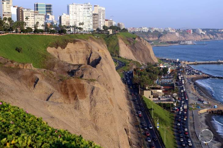 A view of the Pacific coastline from the Lima seaside neighbourhood of Miraflores.