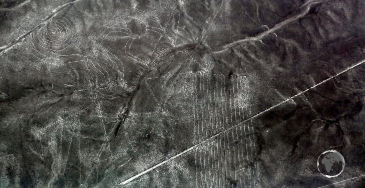 A highlight of the zoomorphic Nazca Lines figures is the 'Monkey' which is 110 metres (360 feet) in length.