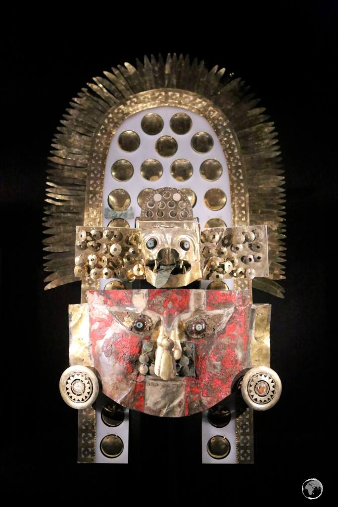 One of the many precious relics from the Moche kingdom, on display at the Museo Tumbas Reales de Sipán, in the town of Lambayeque, 11 km north of the city of Chiclayo.