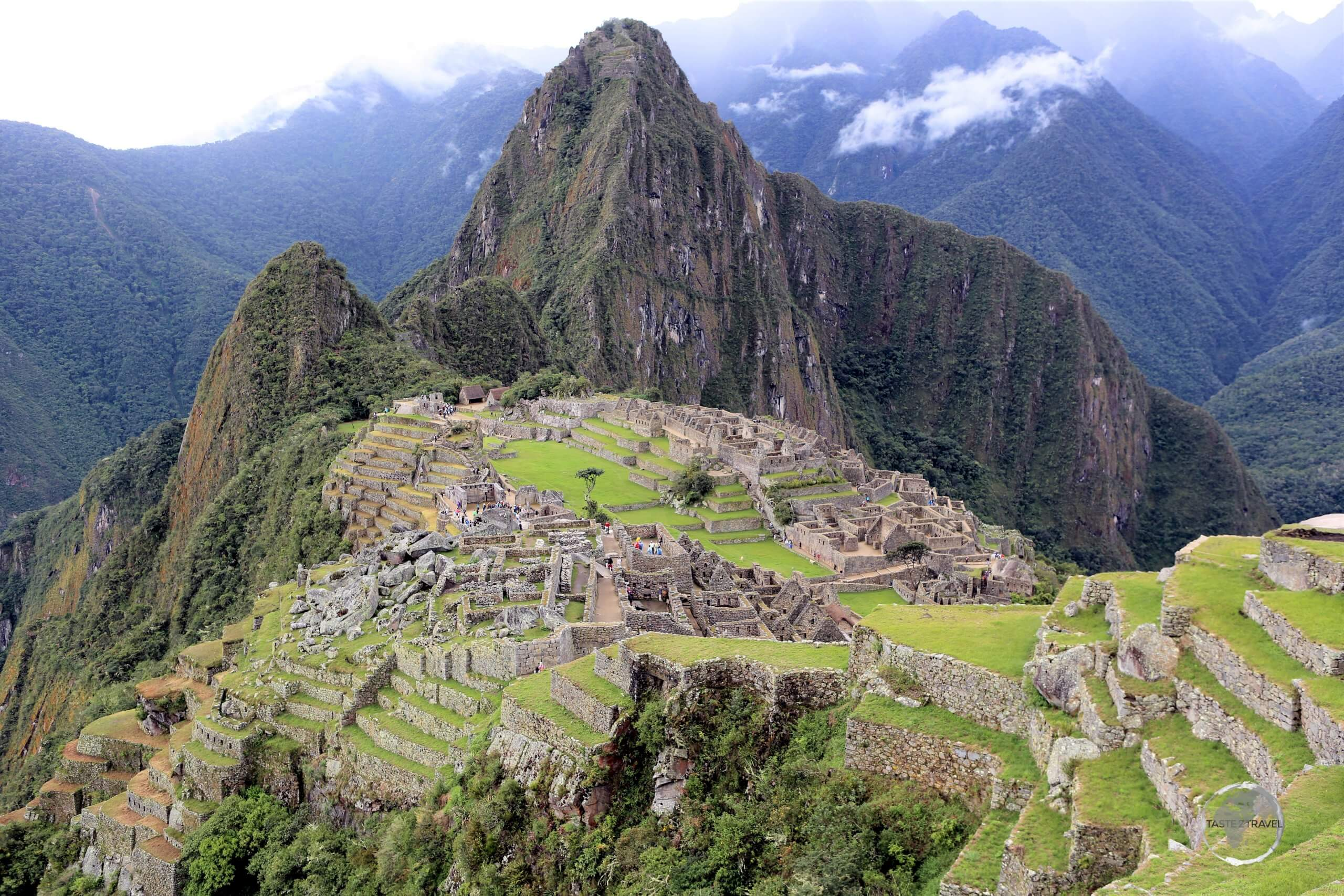 There are 2 levels of Inca-built terraces in Machu Picchu, with 45-upper and 80-lower terraces, all of which are fed by aqueducts and once supported agriculture.