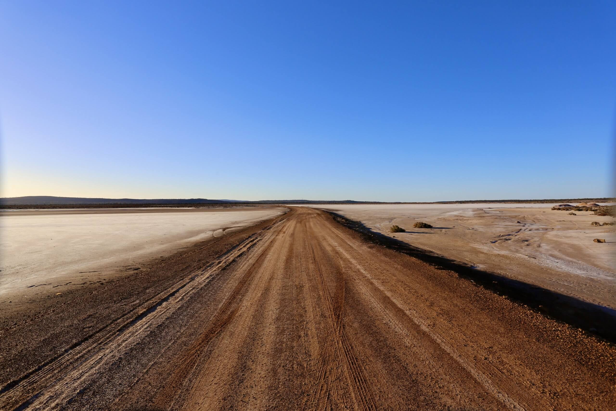 The dried salt lake of Lake Berowa, which lies outside the remote outback town of Norseman.