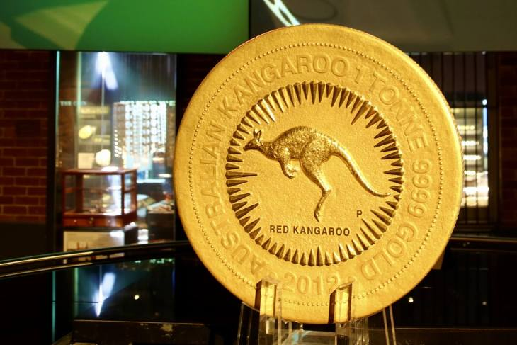 A one-ton (2000 pounds or 1000 kg's) gold coin at Perth Mint.