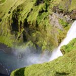 View from the top of Skógafoss waterfall.