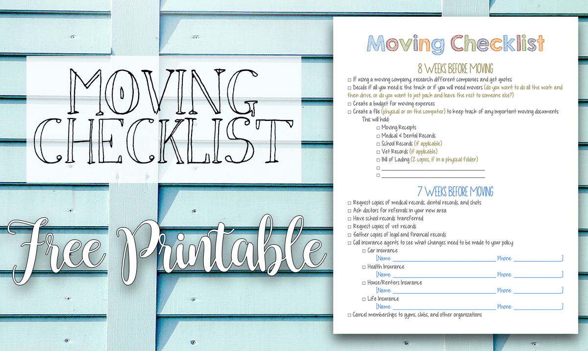 Apartment Moving Checklist Printable