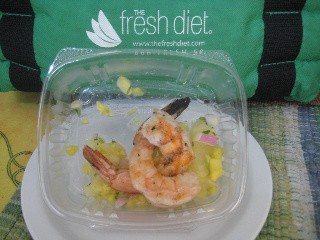fresh diet shrimp skewer with mango salsa