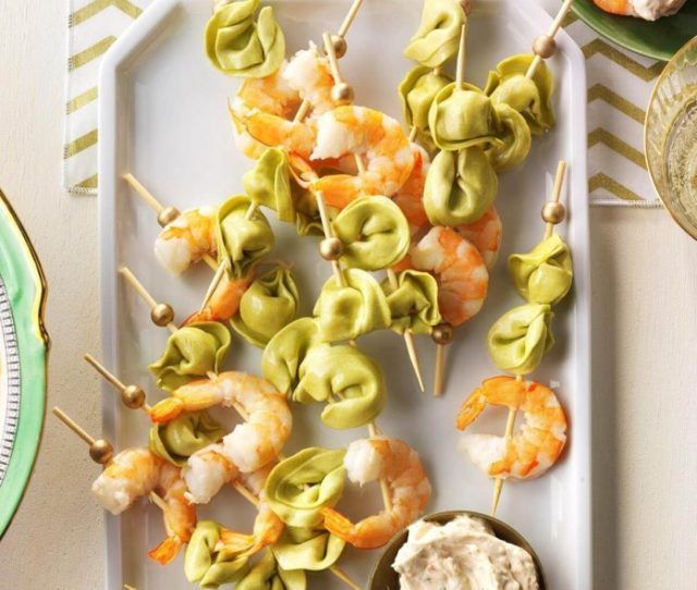 Tortellini Shrimp Skewers With Sun Dried Tomato Sauce