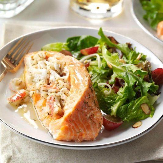 Seafood-Stuffed Salmon Fillets