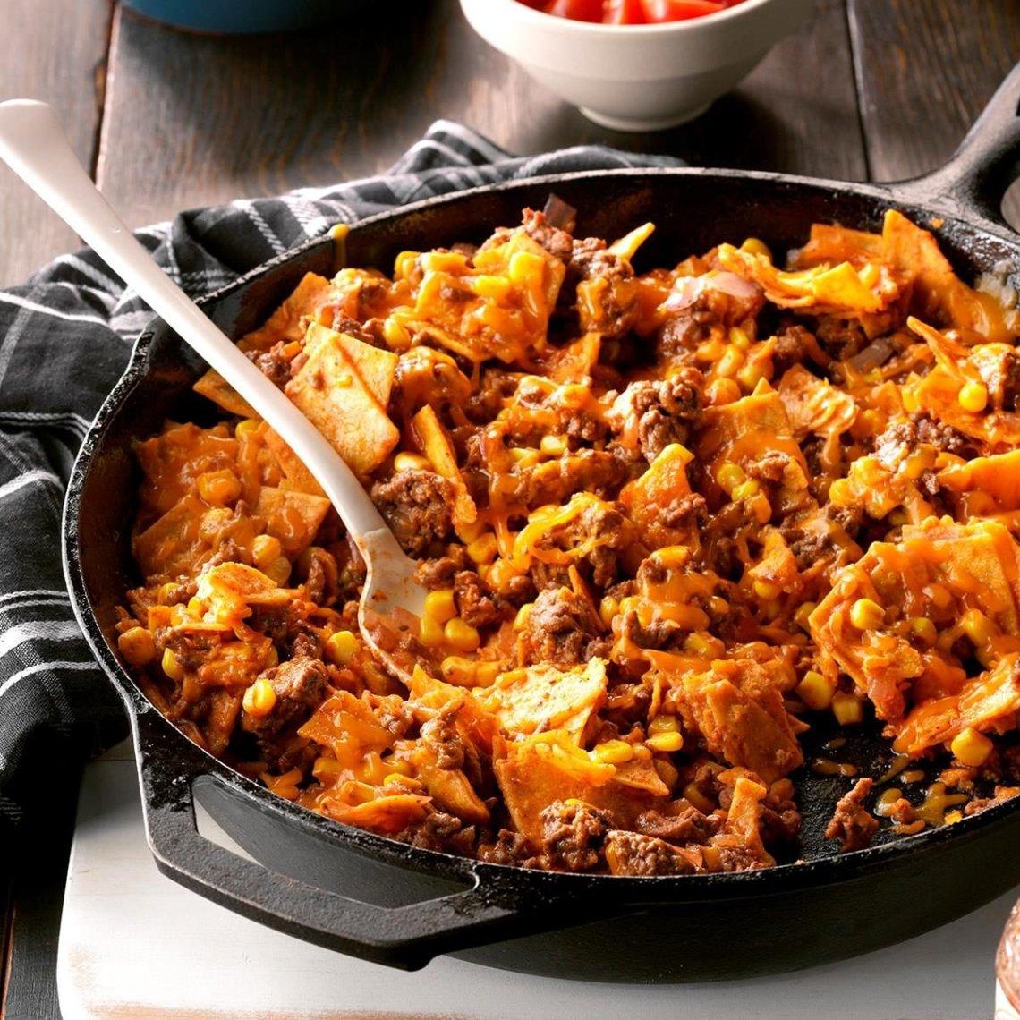 Easy Beef Taco Skillet Recipe | Taste of Home