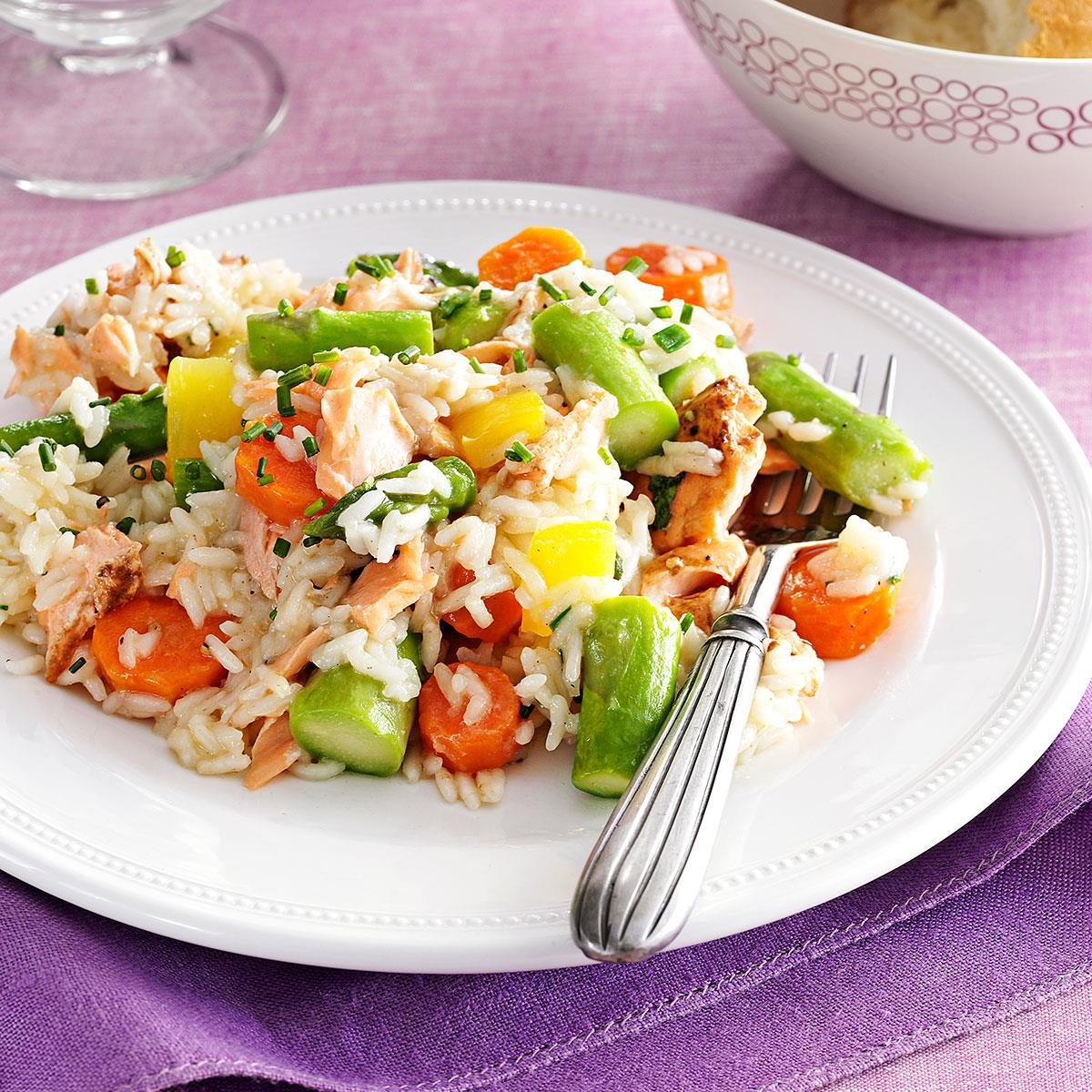 Spring Pilaf With Salmon Amp Asparagus Recipe Taste Of Home