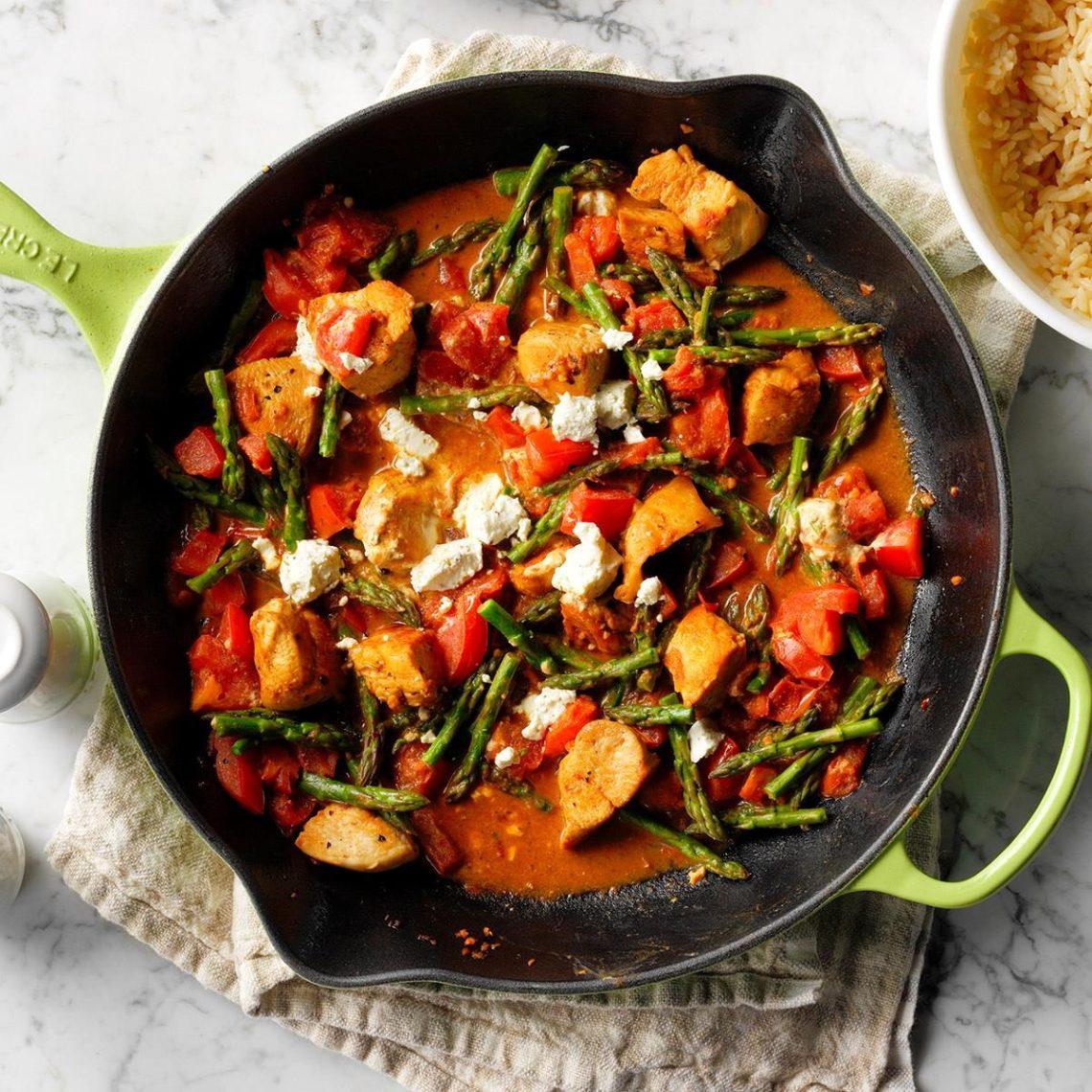 Chicken & Goat Cheese Skillet Recipe | Taste of Home