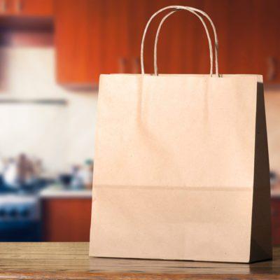 Paper bag on the kitchen table; Shutterstock ID 269530175; Job (TFH, TOH, RD, BNB, CWM, CM): TOH Turkey in Paper Bag