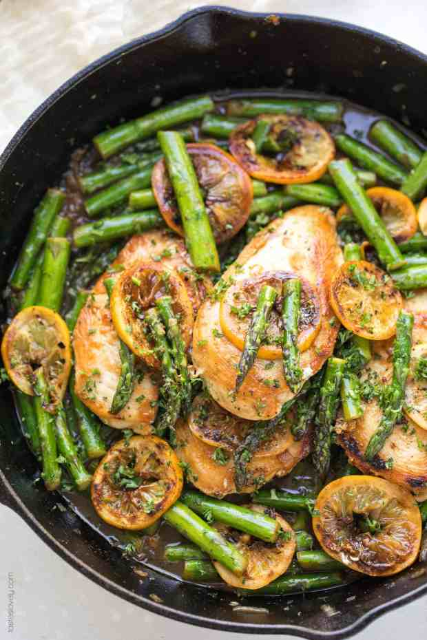 Lemon Honey Chicken Asparagus Skillet