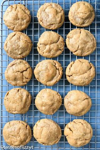 flourless peanut butter cookies on a wire rack