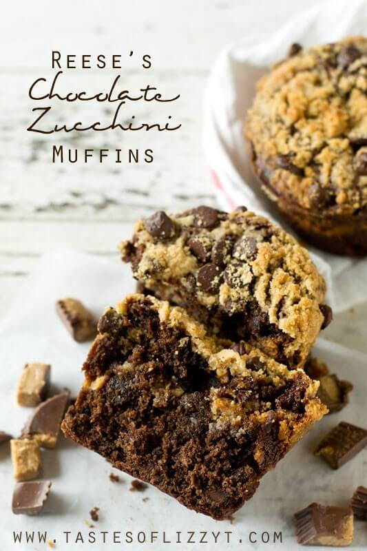 Soft, moist, fudgy bakery-style muffins are stuffed with Reese's peanut butter cups and a peanut butter streusel. These Reese's Chocolate Zucchini Muffins are the best way to eat zucchini!