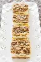 Caramel apple cheesecake bars with crumb topping