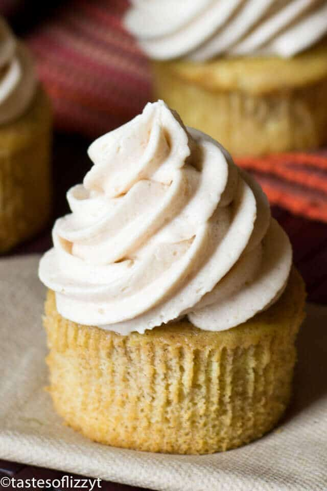 Apple Butter Buttercream Cupcake topped with swirls of apple butter frosting