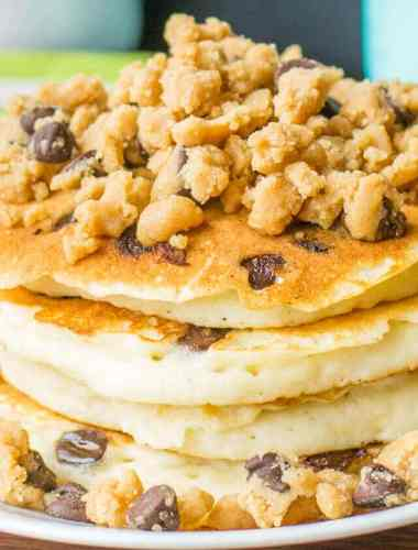 Chocolate Chip Pancakes with Peanut Butter Streusel