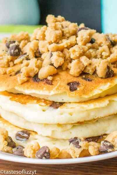Peanut Butter Streusel Chocolate Chip Pancakes