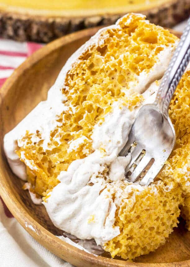 pumpkin angel food cake with pumpkin spice Cool Whip frosting