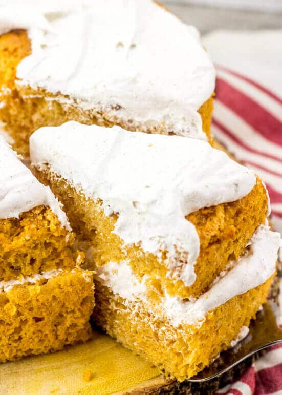slices of pumpkin angel food cake