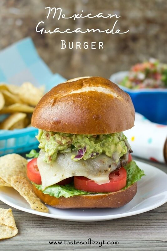 Mexican Guacamole Burger. A burger with Mexican seasoning baked inside and homemade guacamole on top